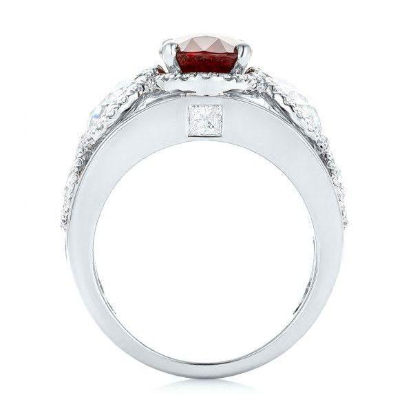 18k White Gold And Platinum 18k White Gold And Platinum Custom Ruby And Diamond Fashion Ring - Front View -  102883