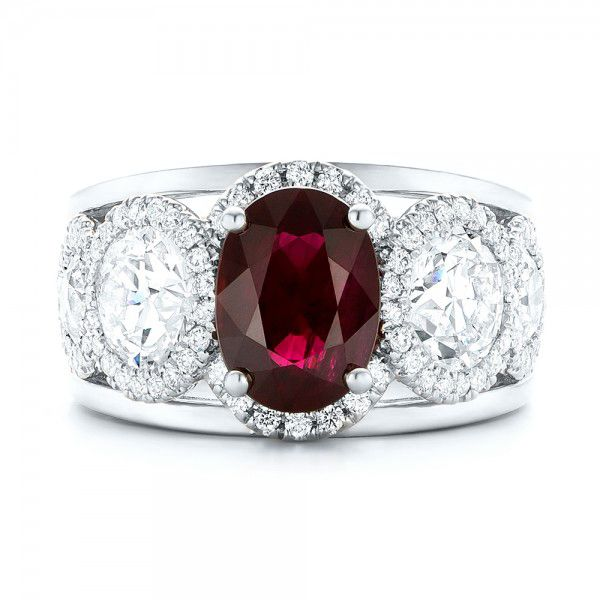 18k White Gold And Platinum 18k White Gold And Platinum Custom Ruby And Diamond Fashion Ring - Top View -  102883