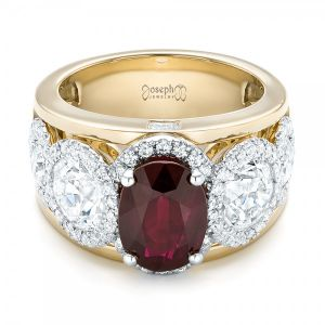 Custom Rose Gold Ruby and Diamond Fashion Ring