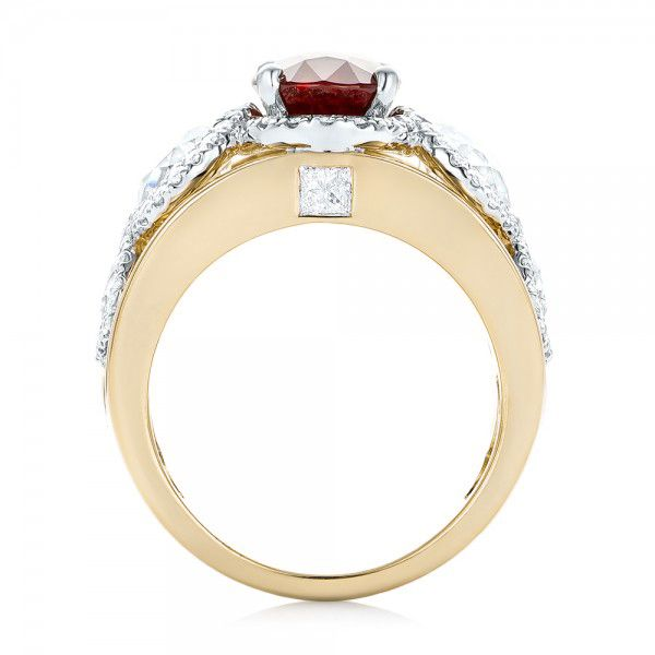 14k Yellow Gold And 14K Gold 14k Yellow Gold And 14K Gold Custom Ruby And Diamond Fashion Ring - Front View -  102883