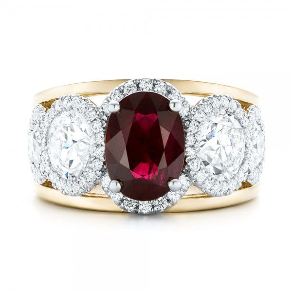 14k Yellow Gold And 14K Gold 14k Yellow Gold And 14K Gold Custom Ruby And Diamond Fashion Ring - Top View -  102883