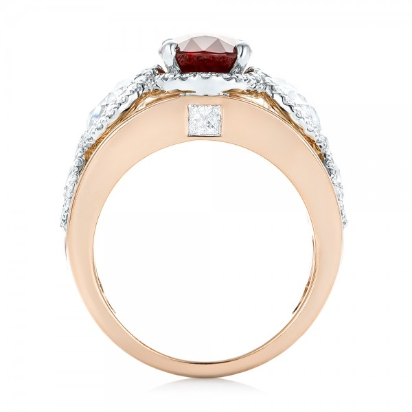 Custom Rose Gold Ruby and Diamond Fashion Ring - Finger Through View