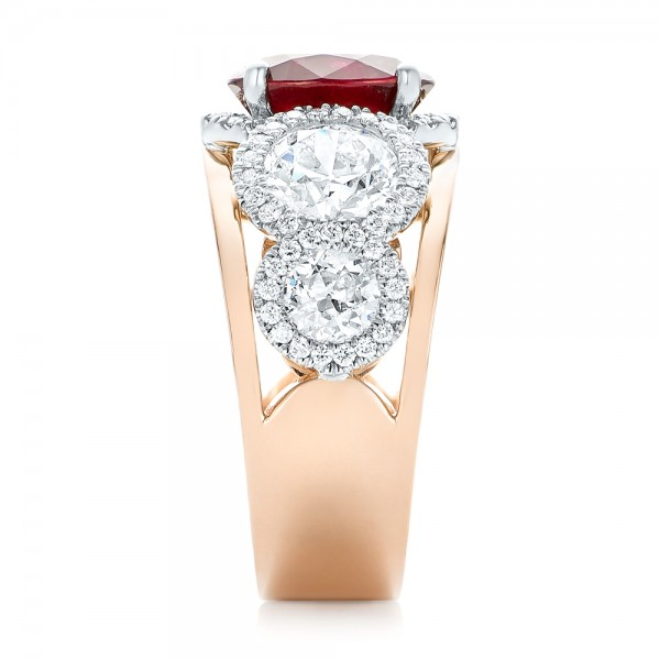 Custom Rose Gold Ruby and Diamond Fashion Ring - Side View