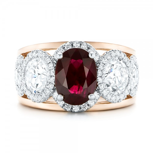 Custom Rose Gold Ruby and Diamond Fashion Ring - Top View