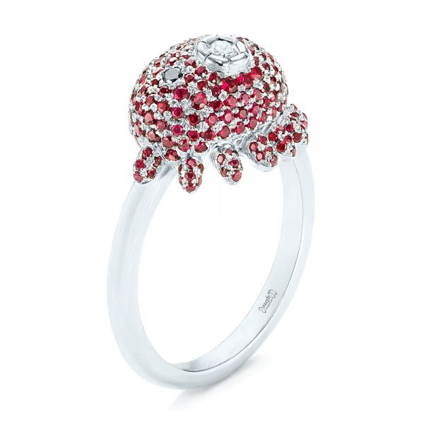 Platinum Custom Ruby And Diamond Fashion Ring - Three-Quarter View -  103148
