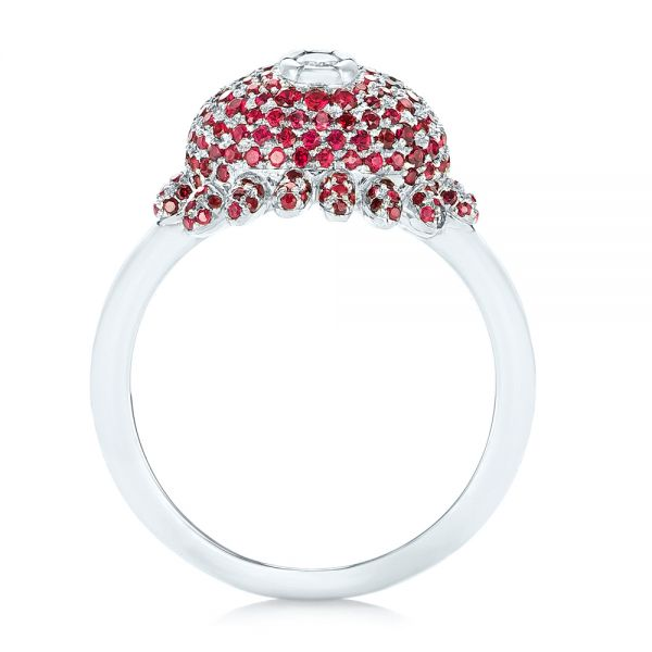 Platinum Custom Ruby And Diamond Fashion Ring - Front View -