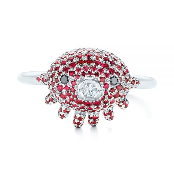 Platinum Custom Ruby And Diamond Fashion Ring - Top View -  103148