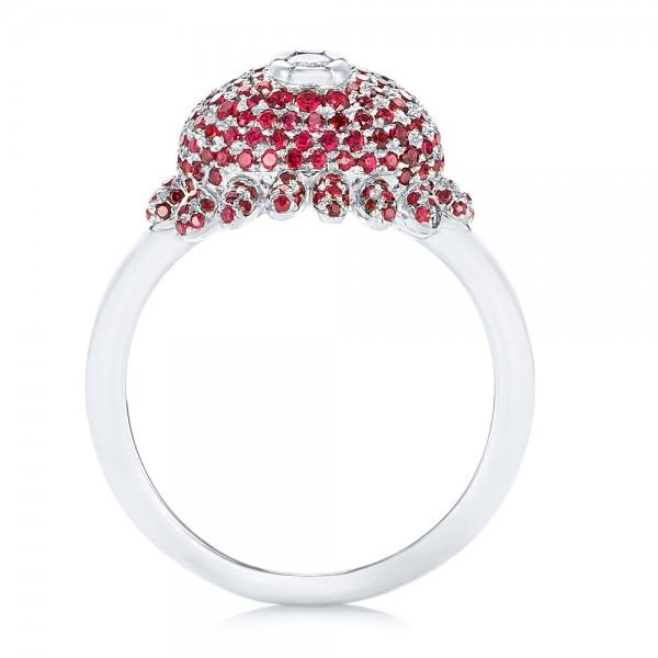 Custom Ruby and Diamond Fashion Ring - Finger Through View