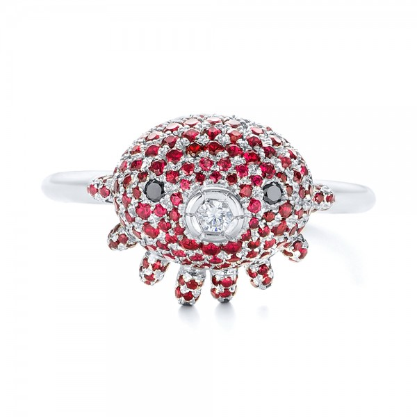 Custom Ruby and Diamond Fashion Ring - Top View