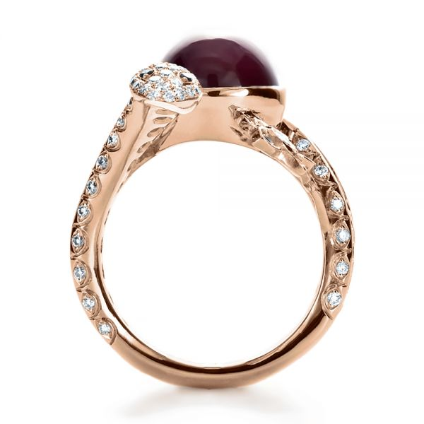 18k Rose Gold 18k Rose Gold Custom Ruby And Diamond Snake Ring - Front View -
