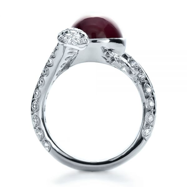 Platinum Custom Ruby And Diamond Snake Ring - Front View -  1139