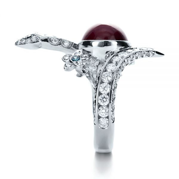 Platinum Custom Ruby And Diamond Snake Ring - Side View -  1139