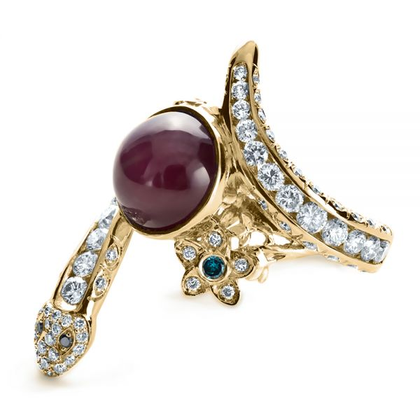 18k Yellow Gold 18k Yellow Gold Custom Ruby And Diamond Snake Ring - Flat View -
