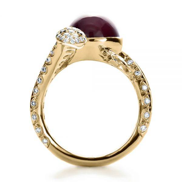 18k Yellow Gold 18k Yellow Gold Custom Ruby And Diamond Snake Ring - Front View -