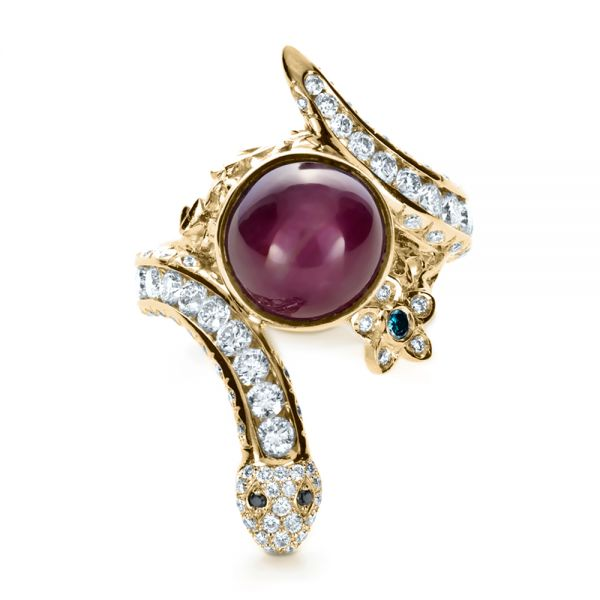 18k Yellow Gold 18k Yellow Gold Custom Ruby And Diamond Snake Ring - Top View -