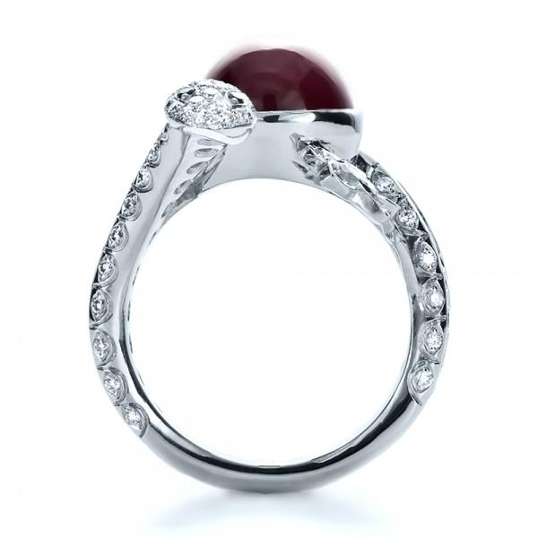 Custom Ruby and Diamond Snake Ring - Finger Through View