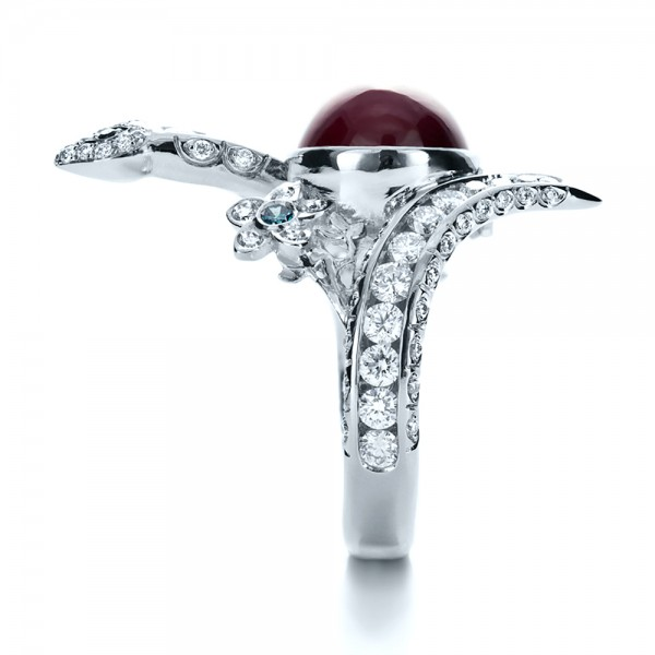 Custom Ruby and Diamond Snake Ring - Side View