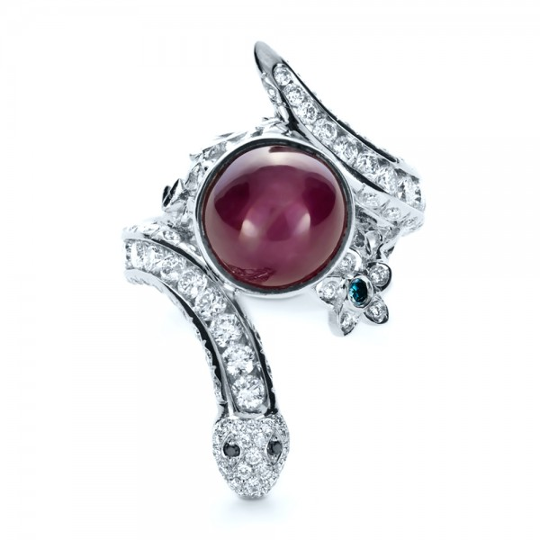Custom Ruby and Diamond Snake Ring - Top View