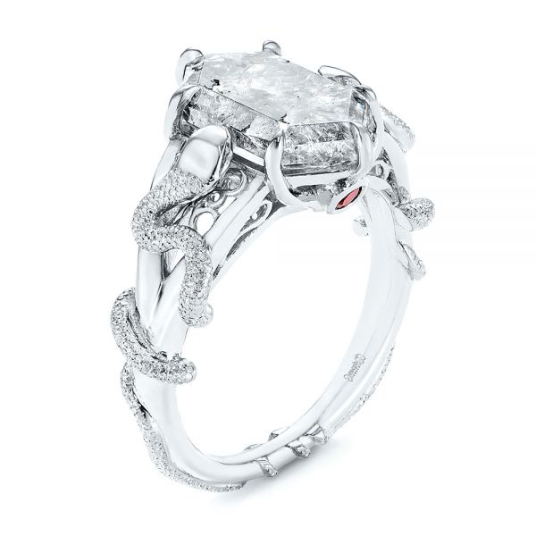 Custom Salt and Pepper Hexagon Diamond Snake Fashion Ring - Image