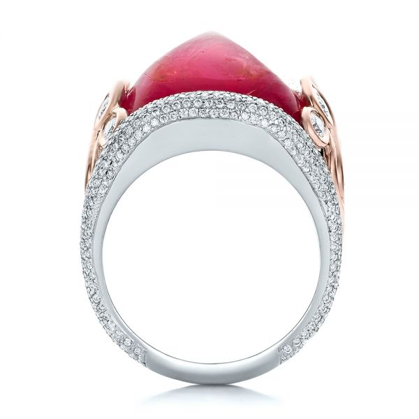 14K Gold And 14k Rose Gold Custom Spinel And Pave Diamond Anniversary Ring - Front View -