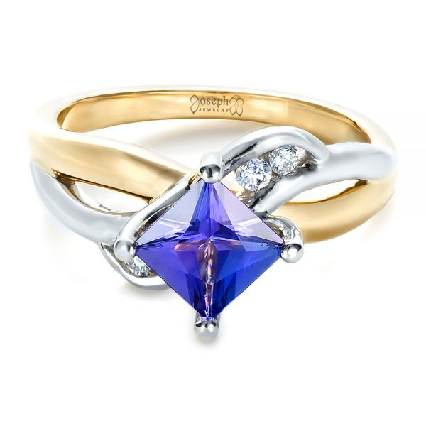 Custom Tanzanite and Diamond Ring - Flat View -  1433 - Thumbnail