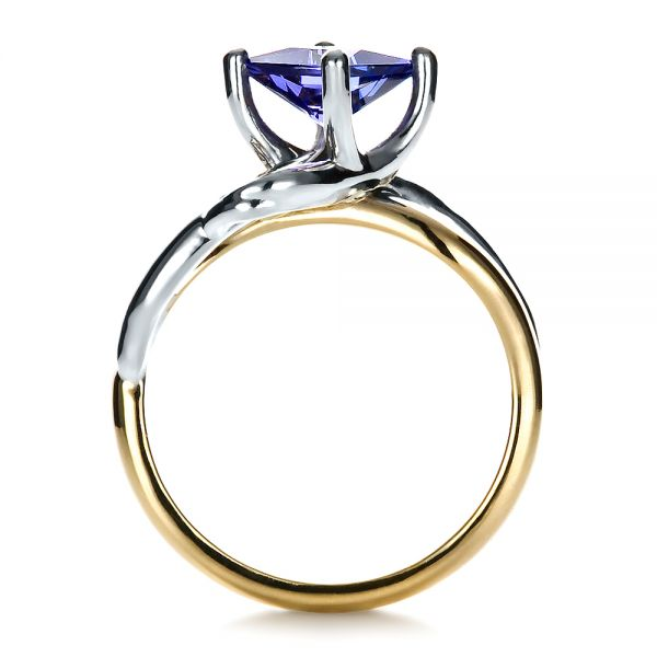 Custom Tanzanite and Diamond Ring - Front View -  1433 - Thumbnail