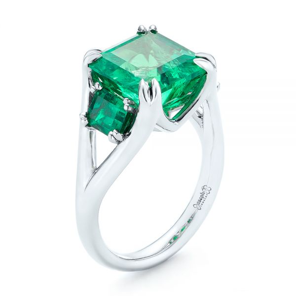 Custom Three Stone Emerald Fashion Ring - Image