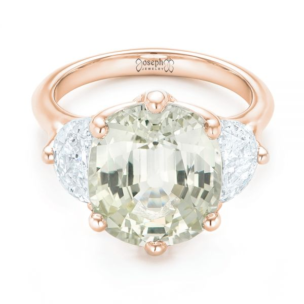 14k Rose Gold 14k Rose Gold Custom Three Stone White Sapphire And Diamond Fashion Ring - Flat View -  102877