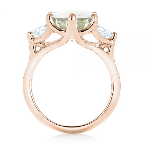 14k Rose Gold 14k Rose Gold Custom Three Stone White Sapphire And Diamond Fashion Ring - Front View -  102877