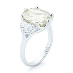 Custom Three Stone White Sapphire and Diamond Fashion Ring