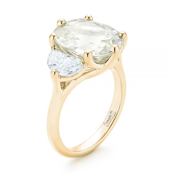 18k Yellow Gold 18k Yellow Gold Custom Three Stone White Sapphire And Diamond Fashion Ring - Three-Quarter View -  102877