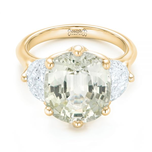 18k Yellow Gold 18k Yellow Gold Custom Three Stone White Sapphire And Diamond Fashion Ring - Flat View -  102877