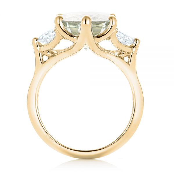18k Yellow Gold 18k Yellow Gold Custom Three Stone White Sapphire And Diamond Fashion Ring - Front View -  102877