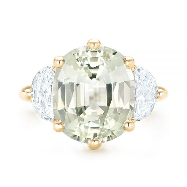 18k Yellow Gold 18k Yellow Gold Custom Three Stone White Sapphire And Diamond Fashion Ring - Top View -  102877