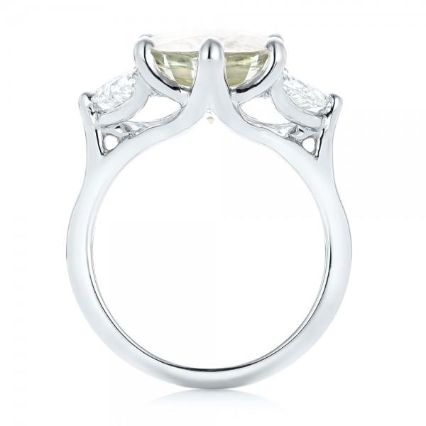 Custom Three Stone White Sapphire and Diamond Fashion Ring - Finger Through View