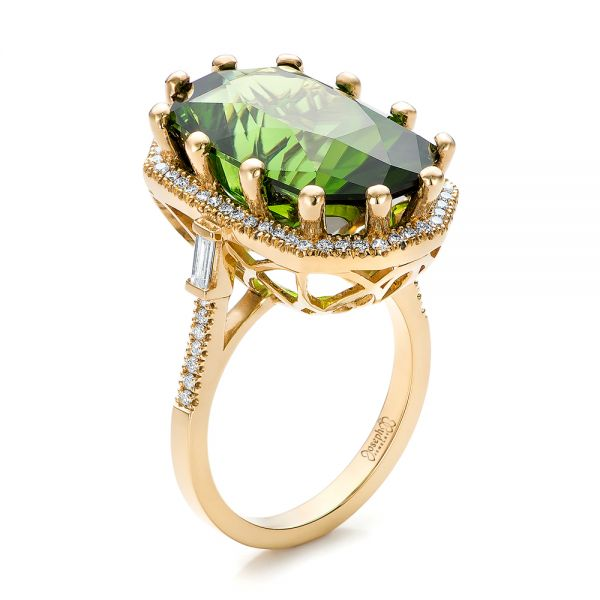 Custom Tourmaline and Diamond Halo Fashion Ring - Image