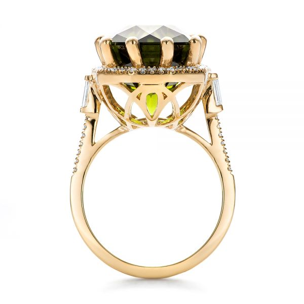 Custom Tourmaline and Diamond Halo Fashion Ring - Front View -  100869 - Thumbnail