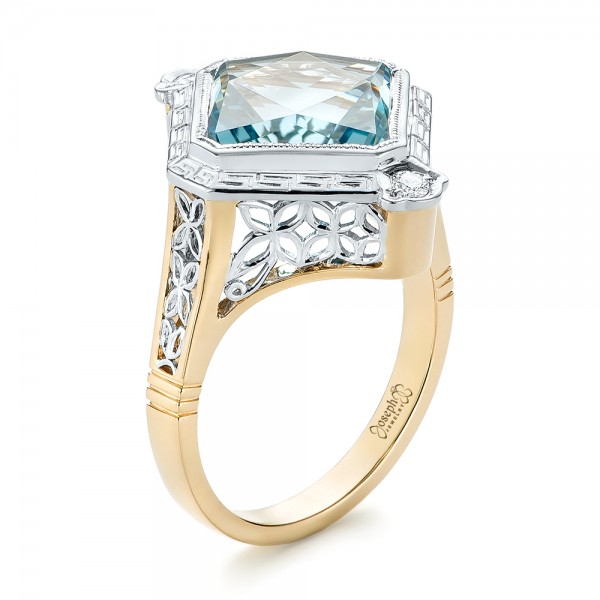 Custom Two-Tone Aquamarine and Diamond Fashion Ring - Three-Quarter View -  103289 - Thumbnail