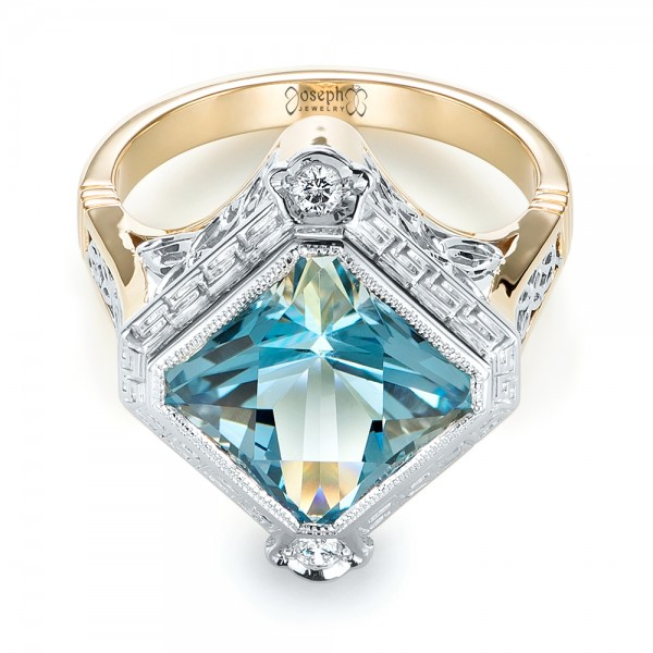 Custom Two-Tone Aquamarine and Diamond Fashion Ring - Flat View -  103289 - Thumbnail