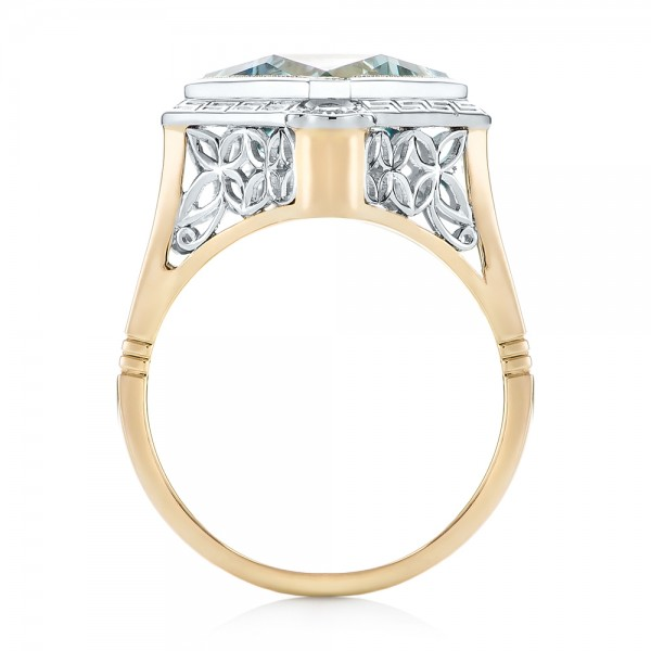 Custom Two-Tone Aquamarine and Diamond Fashion Ring - Front View -  103289 - Thumbnail