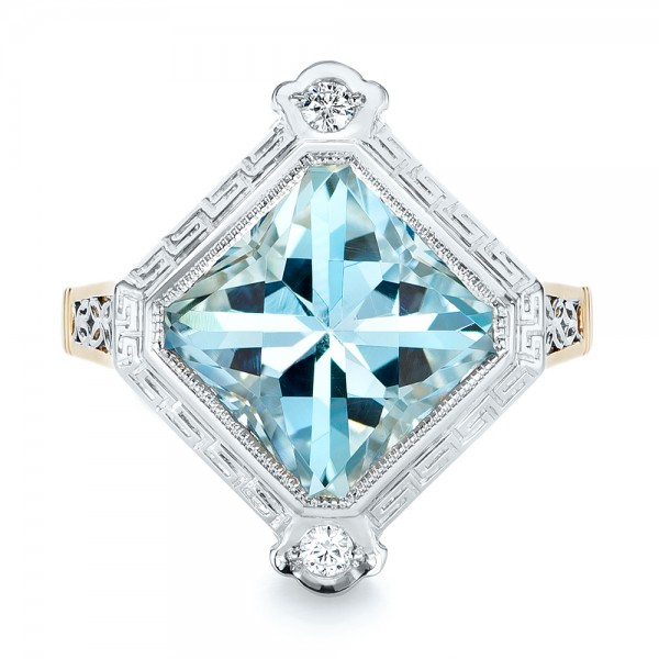 Custom Two-Tone Aquamarine and Diamond Fashion Ring - Top View -  103289 - Thumbnail