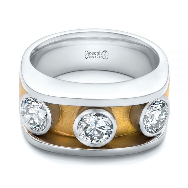 Platinum And 18k Yellow Gold Custom Two-tone Diamond Fashion Ring - Flat View -