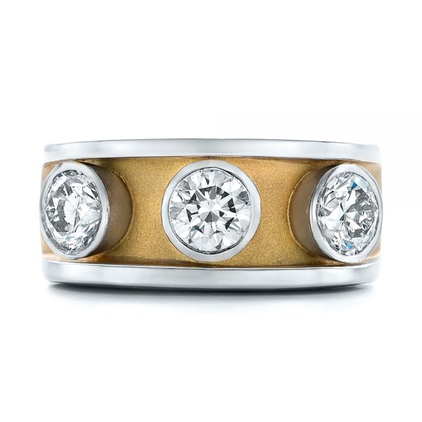 Platinum And 18k Yellow Gold Custom Two-tone Diamond Fashion Ring - Top View -