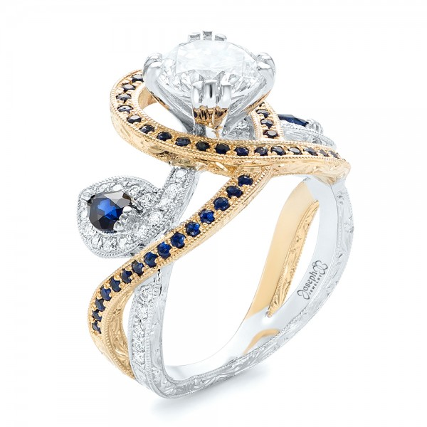 Custom Two-tone Blue Sapphire And Diamond Fashion Ring - Three-Quarter View -