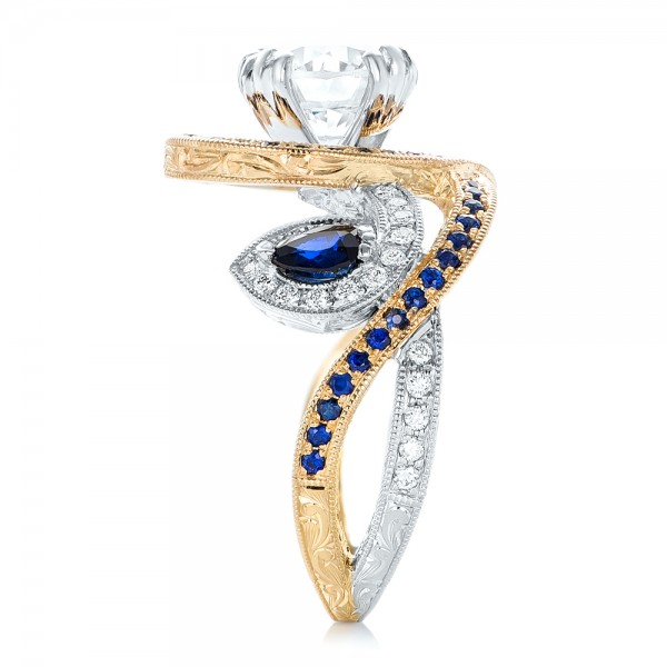 Custom Two-tone Blue Sapphire And Diamond Fashion Ring - Side View -  102469