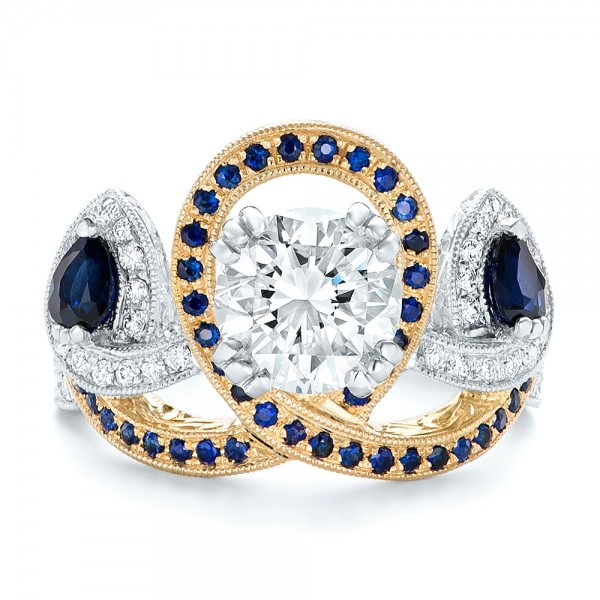 Custom Two-tone Blue Sapphire And Diamond Fashion Ring - Top View -  102469