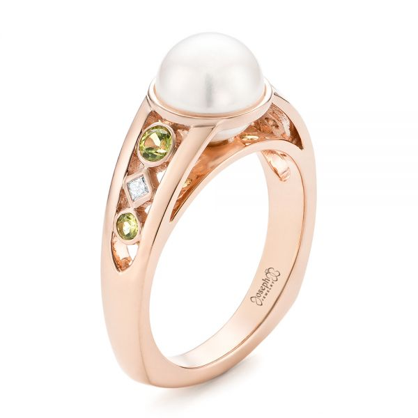 Custom White Pearl, Peridot and Diamond Fashion Ring - Three-Quarter View -  102755 - Thumbnail