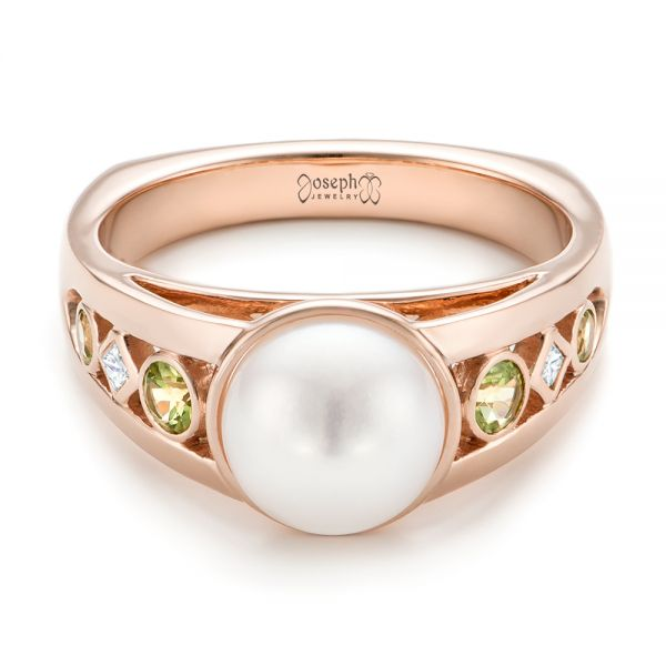 Custom White Pearl, Peridot and Diamond Fashion Ring - Flat View -  102755 - Thumbnail