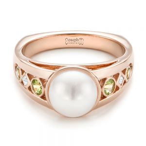 Custom White Pearl, Peridot and Diamond Fashion Ring