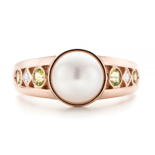 Custom White Pearl, Peridot and Diamond Fashion Ring - Top View -  102755 - Thumbnail